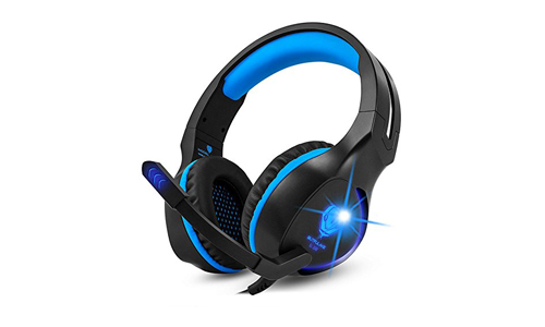 Gaming Headset, Makibes Wired Over Ear Headphones Noise Cancelling with Microphone for PS4, Xbox One, Nintendo Switch, PC Blue