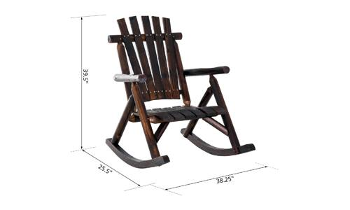 Outdoor Patio Adirondack Rocking Chair, Fir Wood Rustic by OUTSUNNY