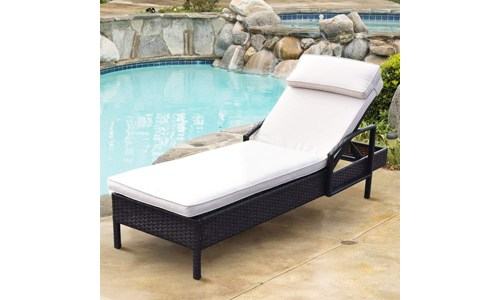 TANGKULA Patio Reclining Chaise Lounge Chair