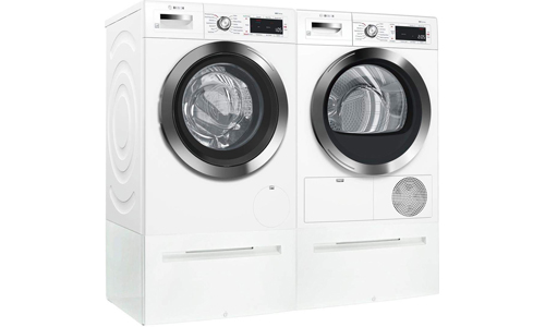 BOSCH presents WAW285H2UC Front Load Compact Washer and WTG865H2UC Condensation Electric Dryer with 2 Laundry Pedestal WMZ20490