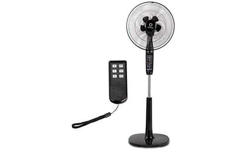 COST WAY Product Stand Fan Oscillating Pedestal Fan Adjustable Whisper Quiet Cooling Fan for Home and Office with 3 Modes, Double Blades, Timer Setting and Remote Control Black