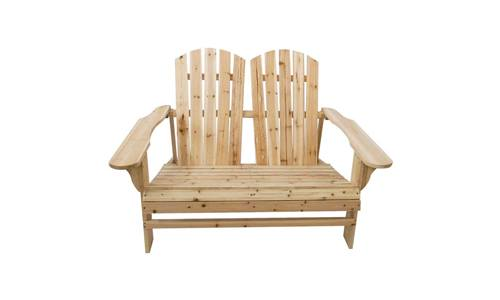 Loveseat Fir Wood Rustic 2-Person Adirondack Chair Bench, Outdoor Lounge Patio Adirondack Rocking Chair Bench by TANGON