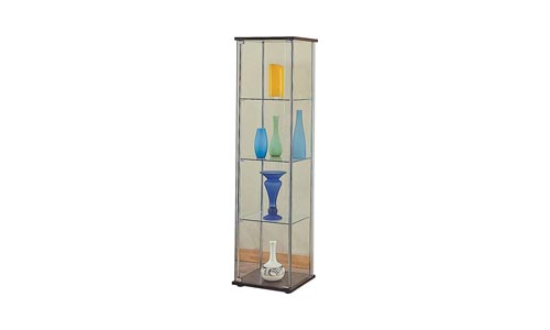 Coaster Contemporary 4 Shelf Glass Curio Cabinet with Cappuccino Top and Bottom