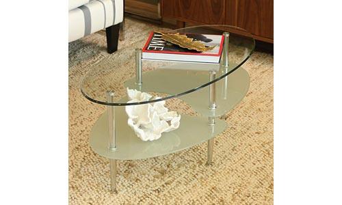 Walker Edison Oval-Shaped Glass Coffee Table