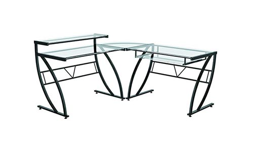 Z Line Belaire Glass L Shaped Computer Desk