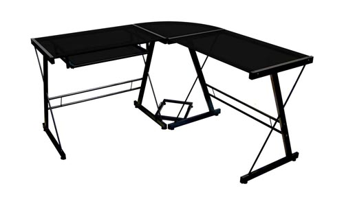 Walker Edison Sore No 3-Piece Corner Desk, Black with Black Glass.