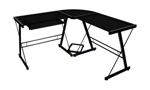 Walker Edison Sore No 3-Piece Corner Desk, Black with Black Glass.