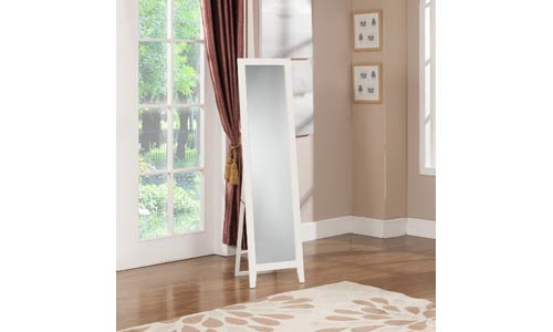 King's Brand White Finish Wood Frame Floor Standing Mirror