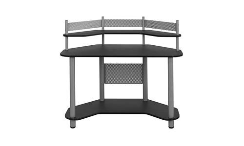 Calico Design 55123 Study Corner Desk, Silver with Black