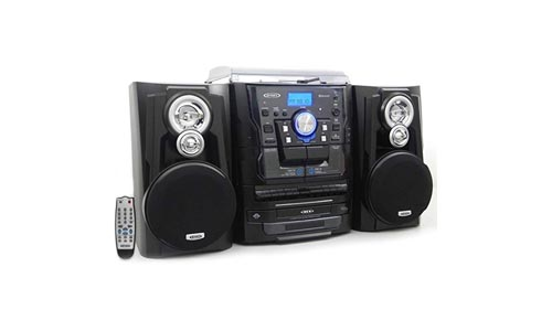 Jensen Bluetooth 3-Speed Stereo Turntable with Dual Cassette Deck