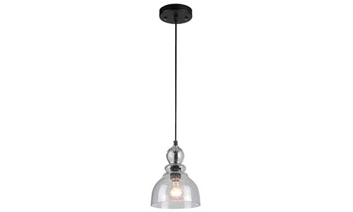 Westinghouse 6100800 One-Light Indoor Mini Pendant, Oil Rubbed Bronze Finish with Clear Seeded Glass