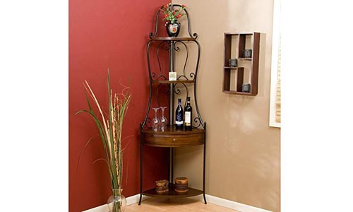 Wrought Iron Corner Bakers Rack with Wood Shelves, Heritage Oak Finish