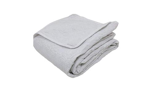 Web Linens Inc Multiple Sizes - Oversized-3pc Quilted Coverlet Set- White -Queen - Exclusively by Blowout Bedding RN# 142035