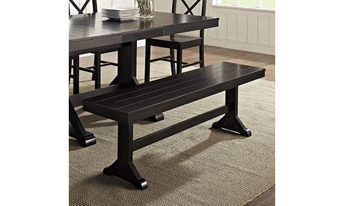 WE Furniture Solid Wood Black Dining Bench