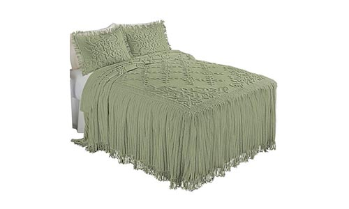 Collections Etc Romantic Floral Lattice Chenille Lightweight Bedspread with Fringe Edging, Sage, Full