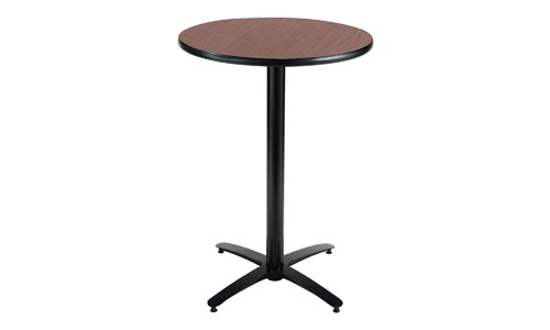 KFI Seating Round Bar Height Pedestal Table with Arched X Base, Commercial Grade, 30-Inch, Dark Mahogany Laminate, Made in the USA