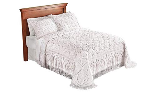 Collections Etc Victoria Plush Chenille Ring-Style Fringe Lightweight Bedspread, Ivory, Twin