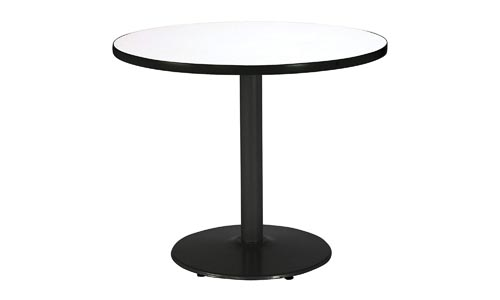 KFI Seating Round Black Base Pedestal Table with Top, Crisp Linen, 30