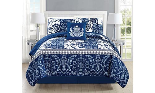 Mk Collection 5pc Bedspread Coverlet Quilted Floral White Navy Blue New #186 (California King 5 Piece Set)