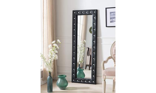 Kings Brand Furniture Modern Upholstered Tufted Standing Floor Mirror, Black Vinyl