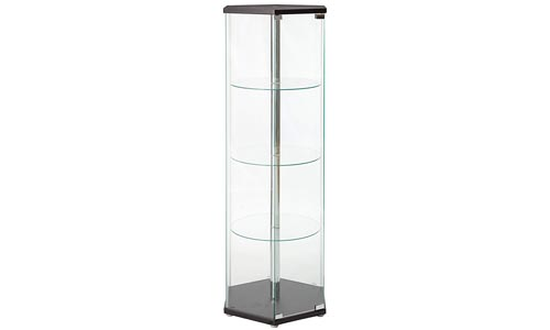 Coaster Traditional Glass Hexagon Shaped Curio Cabinet with Three Round Shelves