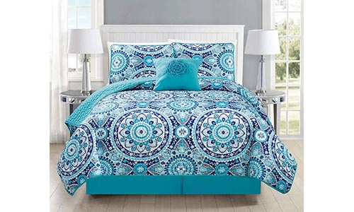 Mk Collection 5pc Bedspread Coverlet Quilted Floral Turquoise Teel Blue Grey New #185 (California King 5 Piece Set)