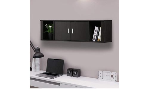 Yaheetech 2 Cube Wall Mounted Media Storage Cabinet 2 Door Floating Console Hutch Black