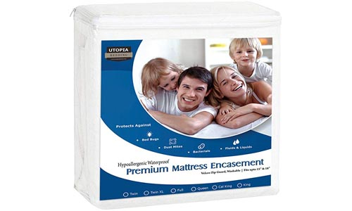 Utopia Bedding Premium Zippered Waterproof Mattress Encasement - Bed Bug Proof Mattress Cover - Ample Zipper Opening for Mattress Protector - Protection from Fluids, Insects and Dust Mites (Twin)