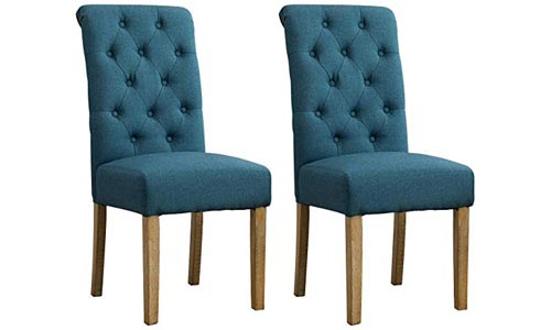 Round hill Furniture Habit Solid Wood Tufted Parsons Dining Chair (Set of 2), Blue