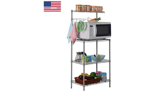 YAONIEO 3 Tiers Kitchen Baker's Rack Microwave Cart Storage Workstation Kitchen Shelving Unit 21.7