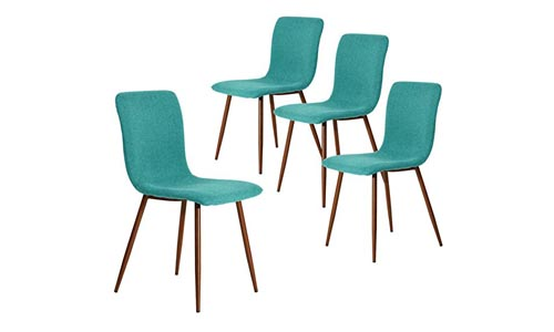 Coavas Set of 4 Kitchen Dining Chairs Fabric Cushion Side Chairs with Sturdy Metal Legs for Dining Living Room Table, Green