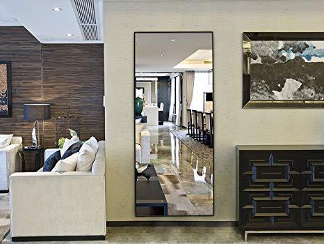 Hans&Alice Rectangle Bedroom Floor Mirror, Free Standing Dressing Mirror, 65