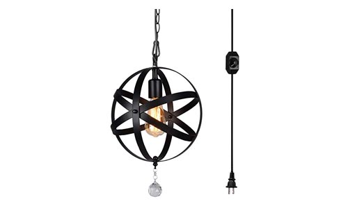 HMVPL Plug-in Industrial Globe Pendant Lights with 16.4 Ft Hanging Cord and Dimmable On/Off Switch, Vintage Metal Spherical Lantern Chandelier Ceiling Light Fixture