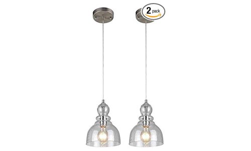 Westinghouse Industrial One-Light Adjustable Mini Pendant with Handblown Clear Seeded Glass, Brushed Nickel Finish - 2 Pack