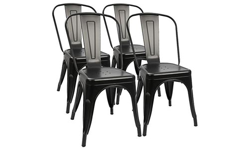 Furmax Metal Dining Chair Indoor-Outdoor Use Stackable Chic Dining Bistro Cafe Side Metal Chairs Black (4 pack)