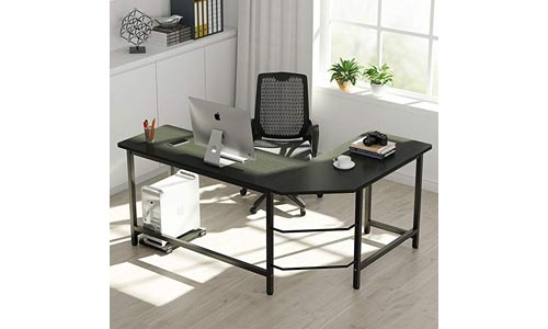 Tribe signs Modern L Shaped Desk Corner Computer Desk Pc Laptop Study Table Workstation Home Office, Wood, And Metal.