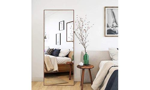 CrossROBBIN Thin Frame Floor Mirror (Brown, 65