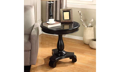 Roundhill Furniture Rene Round Wood Pedestal Side Table, black