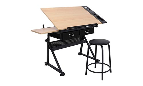 ZENY Height Adjustable Drafting Draft Desk Drawing Table Desk Tiltable Tabletop w/Stool and Storage Drawer for Reading, Writing Art Craft WorkStation