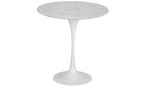 "Poly and Bark Daisy 20"" Marble Side Table in White Base"