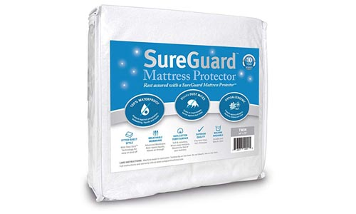SureGuard Mattress Protectors Twin Size 100% Waterproof, Hypoallergenic - Premium Fitted Cotton Terry Cover