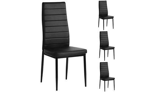 Aingoo Kitchen Chairs Set of 4 Dining Chair Black Steel Frame High Back PU Leather