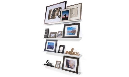 Wallniture Denver Set of 4 White 46 Inch Floating Shelf Bookshelves & Display Bookcase