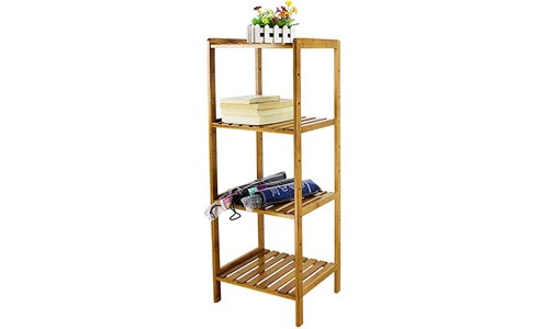 HB life 4-Tier Shelving Unit Bathroom Shelves Bamboo Standing Towels Rack Corner Shelf Multifunctional Storage Organizer