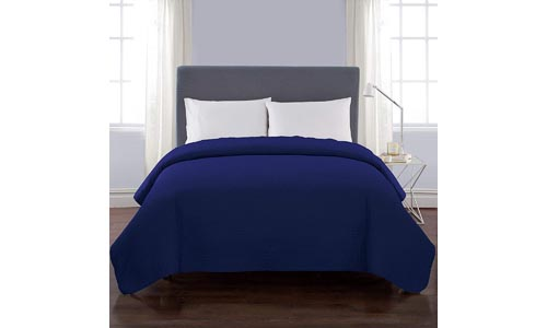 VCNY Home Twin Size Quilt in Blue Luxurious Microfiber for All Season Comfort