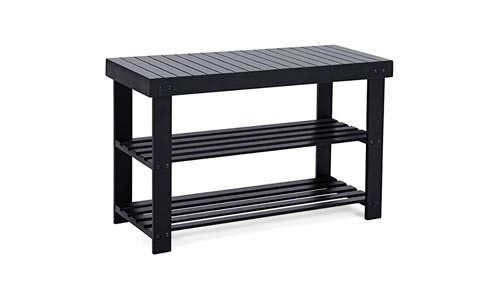 SONGMICS Black Shoe Rack Bench