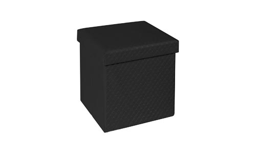 Seville Classics Web556 Faux Leather Quilted Foldable Storage Ottoman, Black Quilted