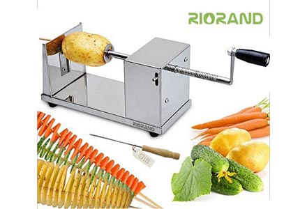RioRand Manual Stainless-Steel Twisted Potato Slicer Spiral Vegetable Cutter French Fry