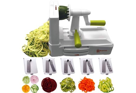 Brief tons 5-Blade Spiralizer (BR-5B-02): Strongest-and-Heaviest Duty Vegetable Spiral Slicer, Best Veggie Pasta Spaghetti Maker for Low Carb/Paleo/Gluten-Free, With Extra Blade Caddy & 4 Recipe eBooks